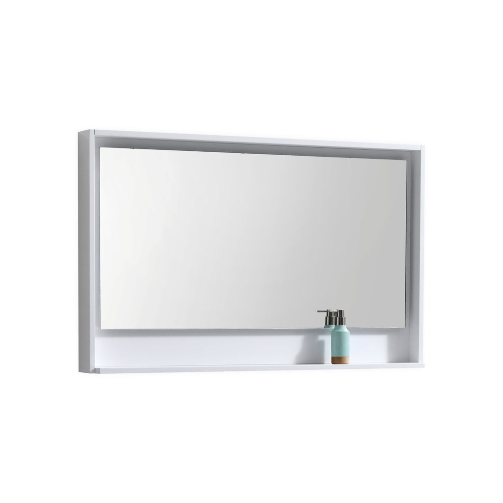 "BLISS- 48"" Gloss White, Mirror With Wood Frame and Bottom Shelf - Vanity Sale"