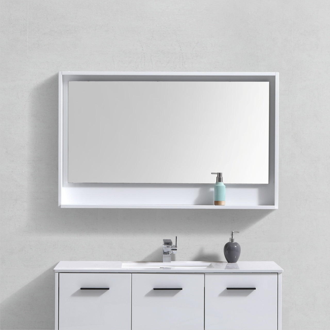 "BLISS- 48"" Gloss White, Mirror With Wood Frame and Bottom Shelf - Construction Commodities Supply Inc."