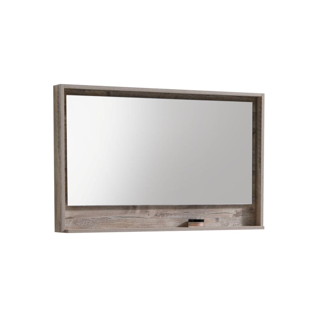 "BLISS- 48"" Nature Wood, Mirror With Wood Frame and Bottom Shelf - Construction Commodities Supply Inc."