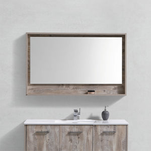 "BLISS- 48"" Nature Wood, Mirror With Wood Frame and Bottom Shelf - Vanity Sale"