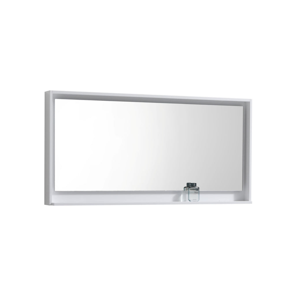 "BLISS- 60"" Gloss White, Mirror With Wood Frame and Bottom Shelf - Construction Commodities Supply Inc."