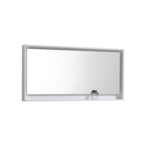 "BLISS- 60"" Gloss White, Mirror With Wood Frame and Bottom Shelf - Vanity Sale"