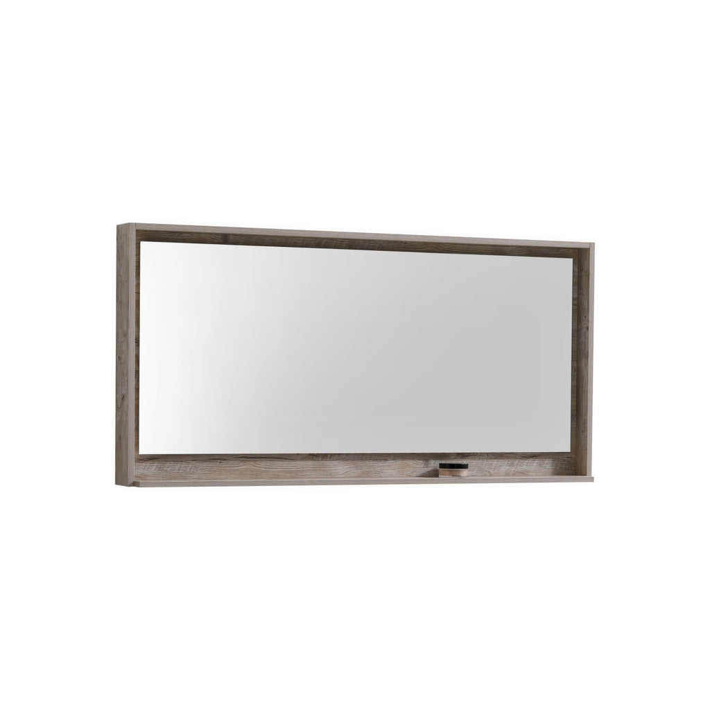 "BLISS- 60"" Nature Wood, Mirror With Wood Frame and Bottom Shelf - Construction Commodities Supply Inc."