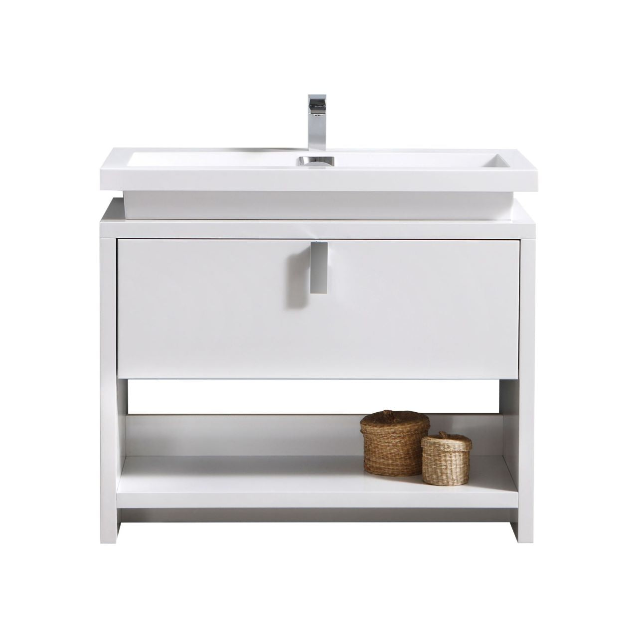 "LEVI- 40"" High Gloss White, Floor Standing Modern Bathroom Vanity With Cubby Hole - Vanity Sale"