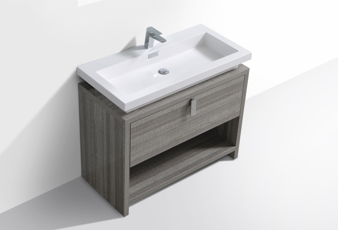 "LEVI- 40"" High Gloss Ash Grey, Floor Standing Modern Bathroom Vanity With Cubby Hole - Vanity Sale"