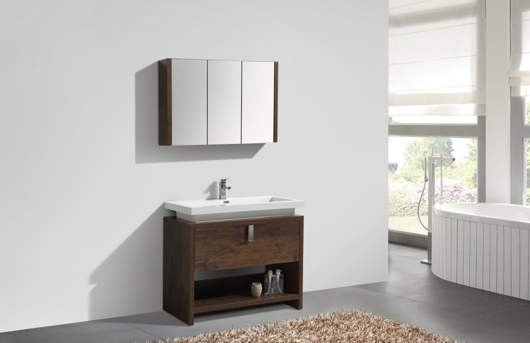 "LEVI- 40"" Rose Wood, Floor Standing Modern Bathroom vanity With Cubby Hole - Vanity Sale"
