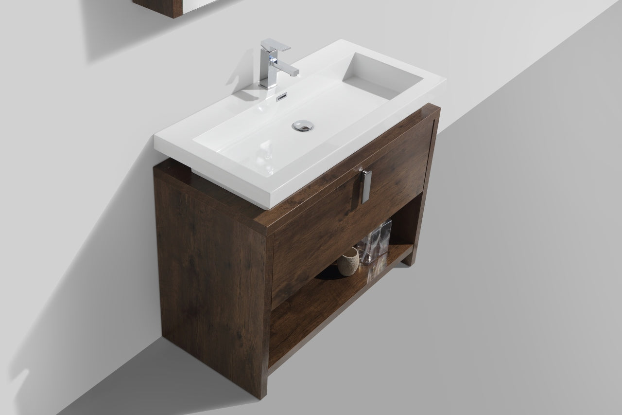 "LEVI- 40"" Rose Wood, Floor Standing Modern Bathroom vanity With Cubby Hole - Construction Commodities Supply Inc."