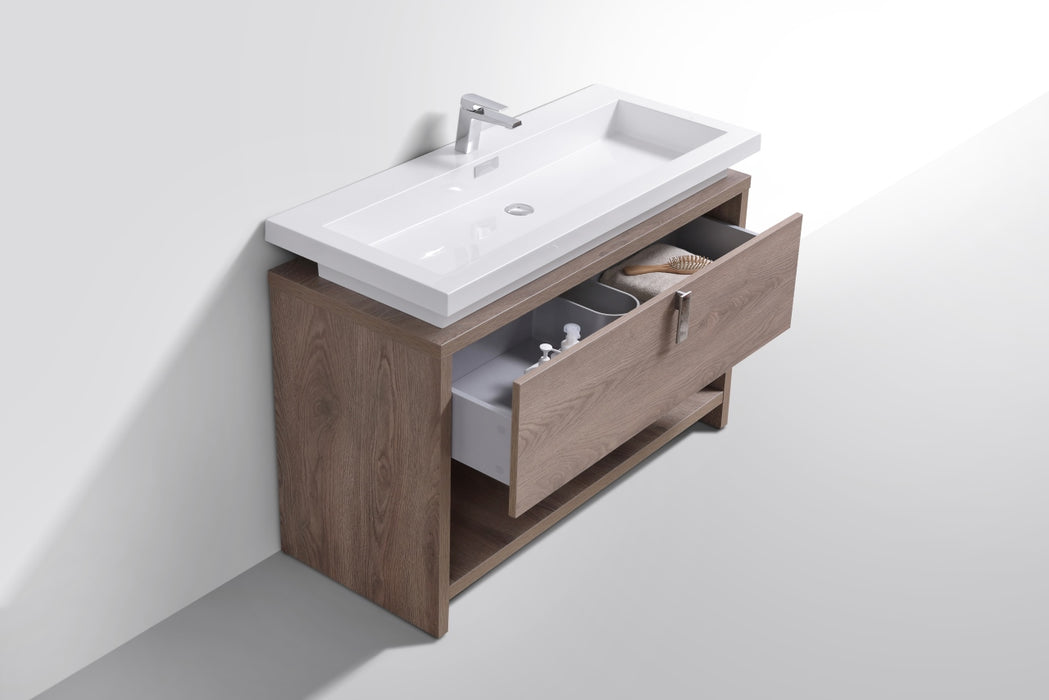 "LEVI- 48"" Havana Oak, Floor Standing Modern bathroom Vanity With Cubby Hole"