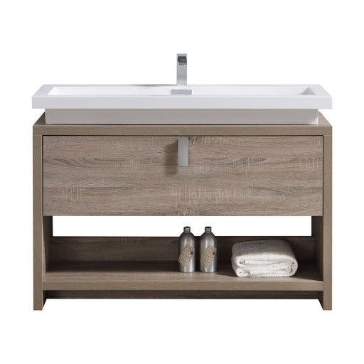 "LEVI- 48"" Butternut, Floor Standing Modern bathroom Vanity With Cubby Hole - Construction Commodities Supply Inc."