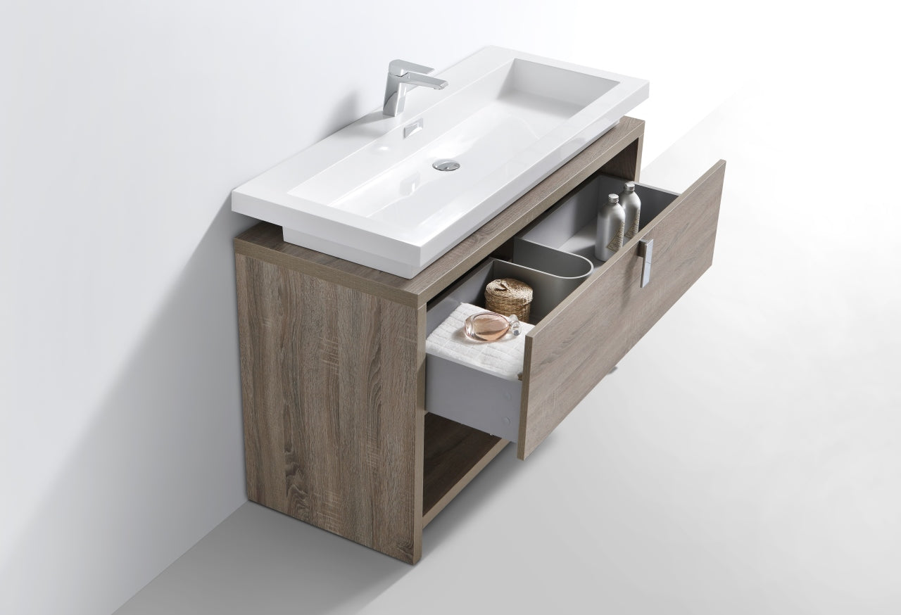 "LEVI- 48"" Havana Oak, Floor Standing Modern bathroom Vanity With Cubby Hole - Construction Commodities Supply Inc."