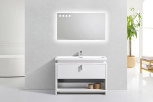 "LEVI- 48"" High Gloss White, Floor Standing Modern Bathroom Vanity With Cubby Hole - Construction Commodities Supply Inc."