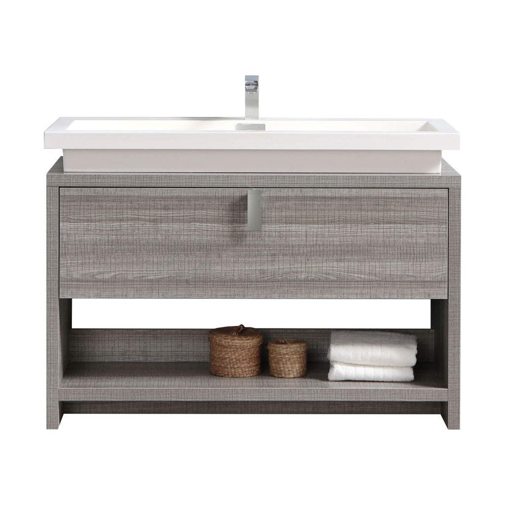 "LEVI- 48"" High Gloss Ash Grey, Floor Standing Modern Bathroom Vanity With Cubby Hole - Vanity Sale"