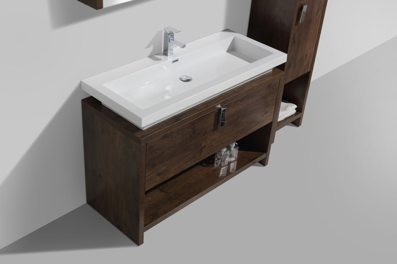 "LEVI- 48"" Rose Wood, Floor Standing Modern Bathroom Vanity With Cubby Hole - Construction Commodities Supply Inc."
