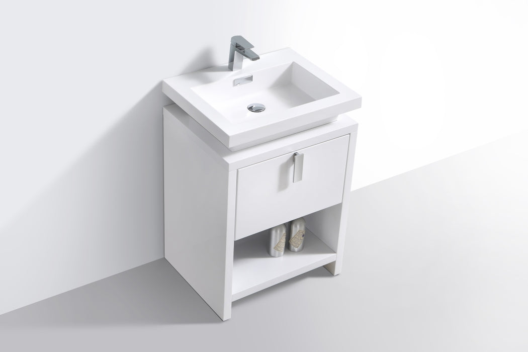 "LEVI - 24"" Gloss White, Floor Standing Modern Bathroom Vanity - Vanity Sale"