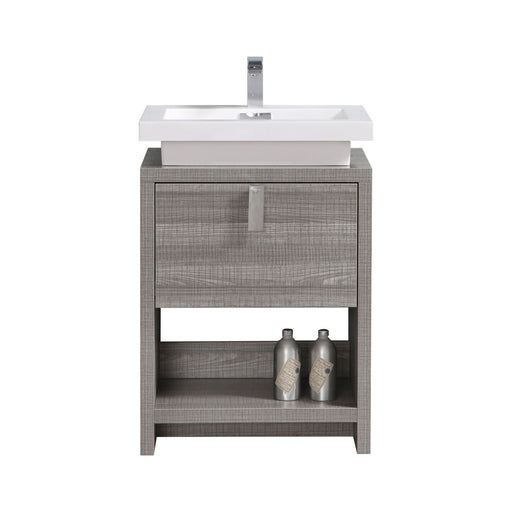 "LEVI - 24"" High Gloss Ash Grey, Floor Standing Modern Bathroom Vanity - Vanity Sale"