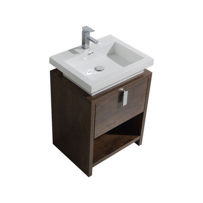 "LEVI - 24"" Rose Wood, Floor Standing Modern Bathroom Vanity - Construction Commodities Supply Inc."