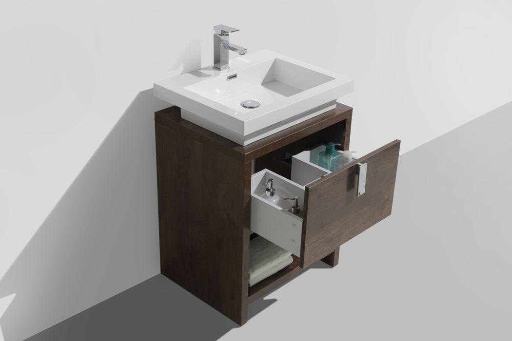 "LEVI - 24"" Rose Wood, Floor Standing Modern Bathroom Vanity - Vanity Sale"