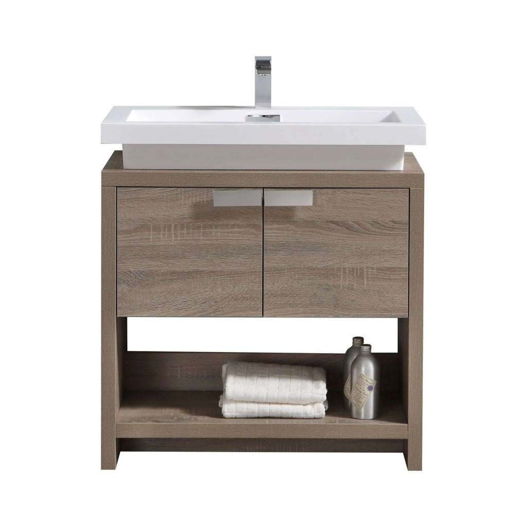 "LEVI - 32"" Havana Oak, Floor Standing Modern Bathroom Vanity With Cubby Hole - Vanity Sale"