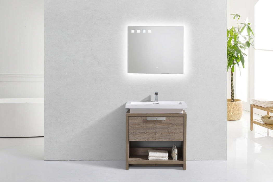 "LEVI - 32"" Havana Oak, Floor Standing Modern Bathroom Vanity With Cubby Hole - Construction Commodities Supply Inc."