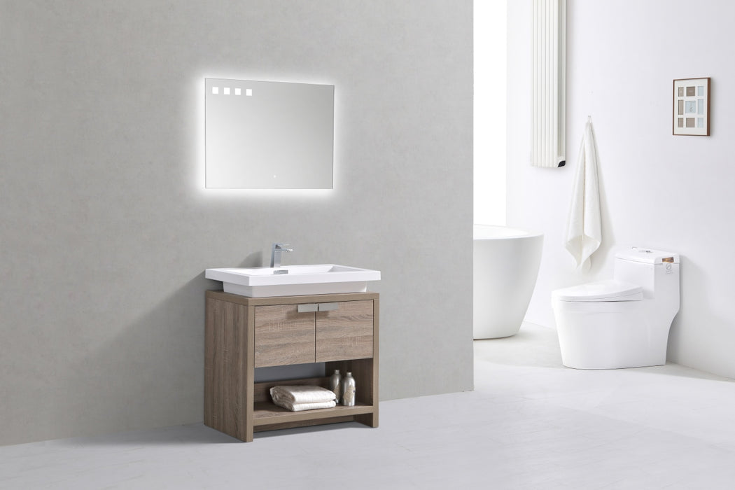 "LEVI - 30"" Havana Oak, Floor Standing Modern Bathroom Vanity - Construction Commodities Supply Inc."