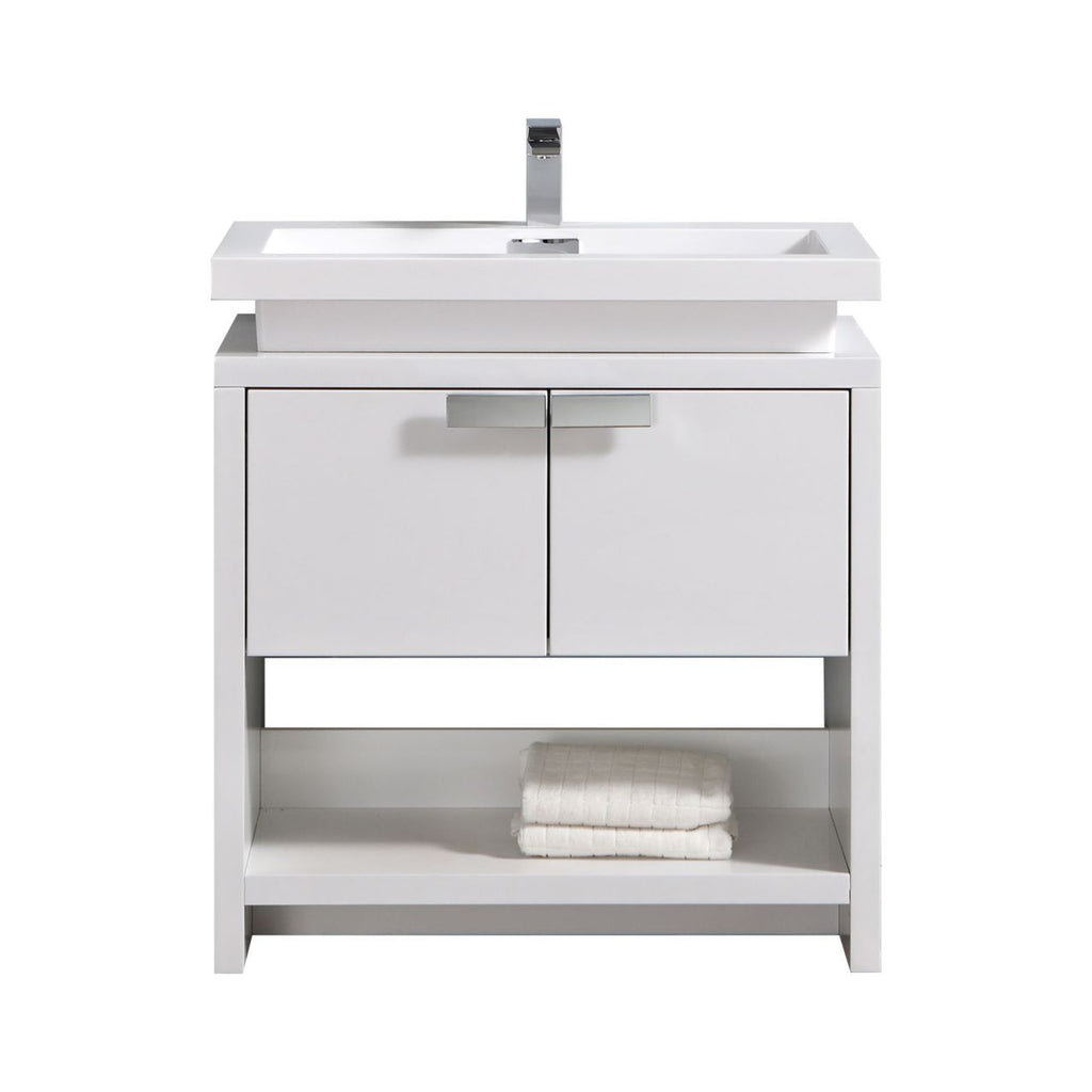 "LEVI - 32"" High Gloss White, Floor Standing Modern Bathroom Vanity With Cubby Hole - Vanity Sale"