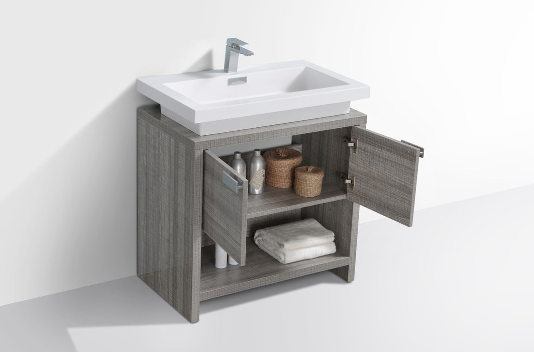 "LEVI - 30"" High Gloss Ash Grey, Floor Standing Modern Bathroom Vanity - Construction Commodities Supply Inc."