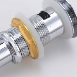 Pop-Up Drain, Chrome Finish, Solid Brass, With OverFlow - Construction Commodities Supply Inc.