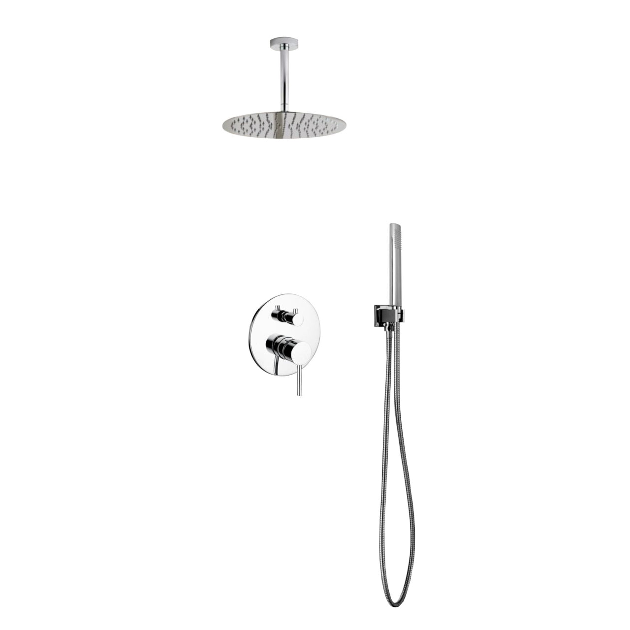 "AQUA RONDO- 12"" Ceiling Mount Shower Faucet With Handheld - Construction Commodities Supply Inc."
