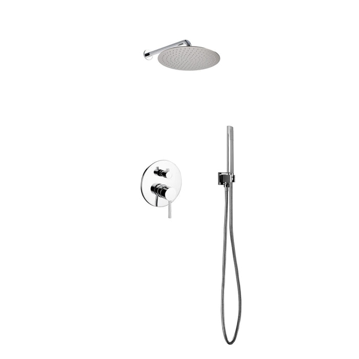 "AQUA RONDO- 12"" Wall mount Shower Faucet With Handheld - Construction Commodities Supply Inc."