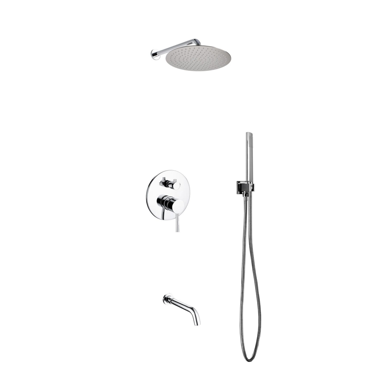 "AQUA RONDO- 12"" Wall Mount Shower Faucet With Handheld and Tub Filler - Construction Commodities Supply Inc."