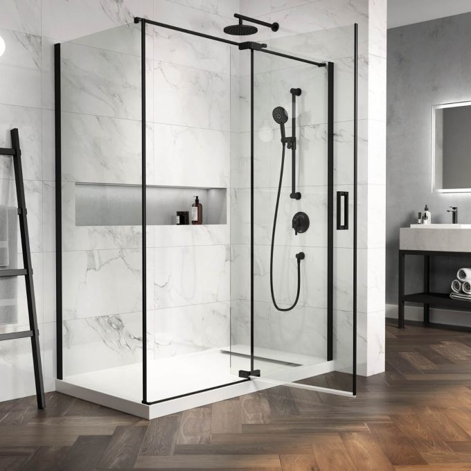 "Distink- 54"" x 77"" x 32"" Pivot Shower Door With 32"" Return Panel"