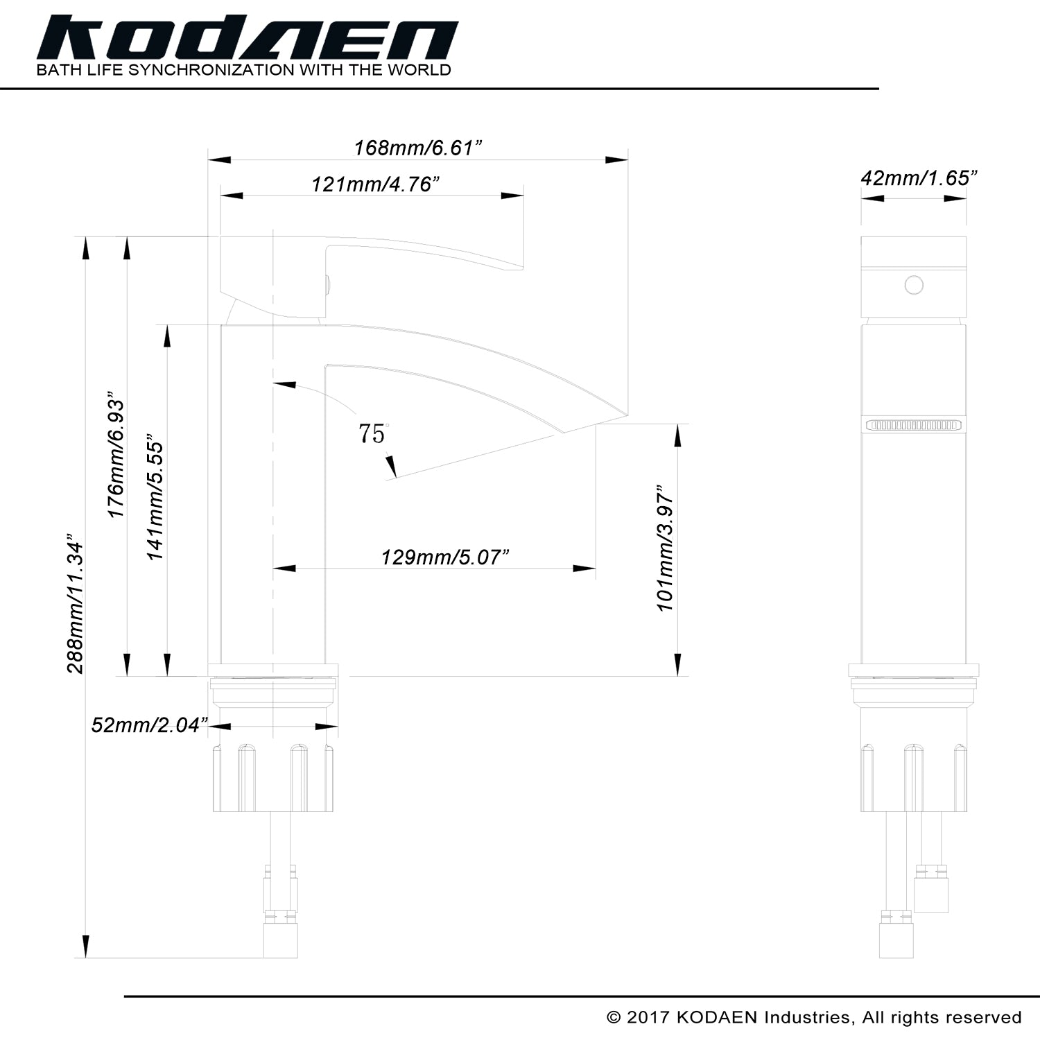 KODAEN- F11103 Single Handle, Matt Black Bathroom Faucet - Vanity Sale