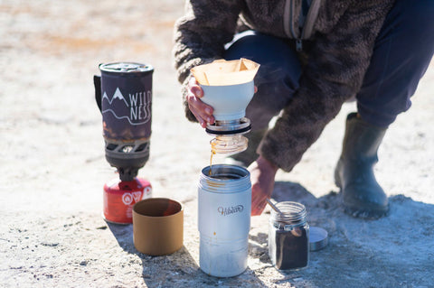 Morning coffee at camp