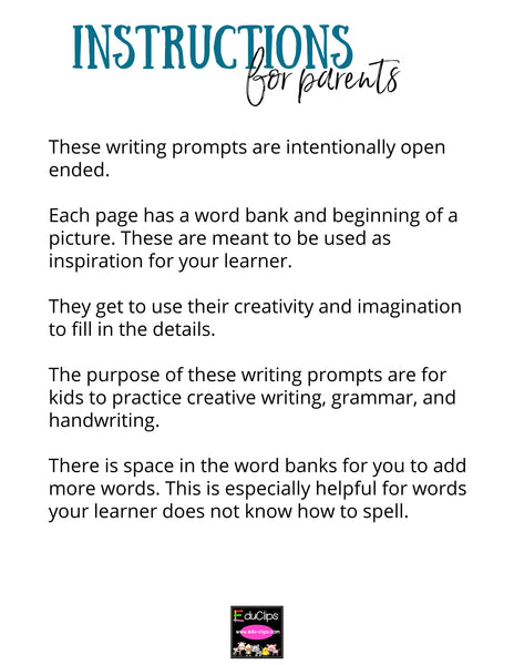 100 Elementary Drawing & Writing Prompts