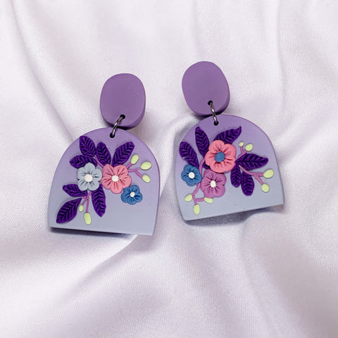 Handmade Polymer Clay Earrings - Secret Garden Dangle 02
