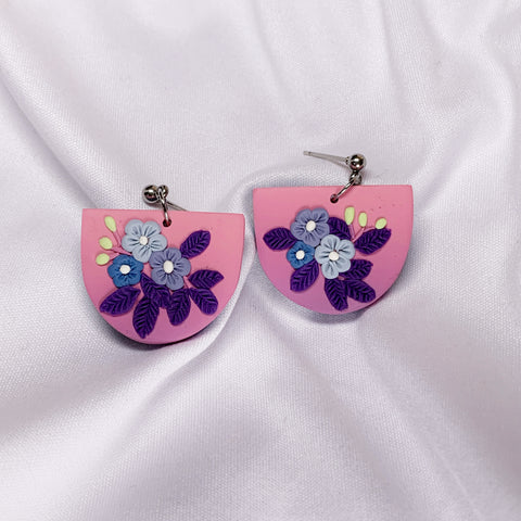 Handmade Polymer Clay Earrings - Secret Garden Dangle 01