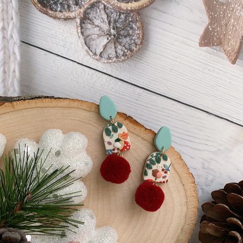 Handmade Polymer Clay Earrings - Mushroom & foliage pompom dangle 04