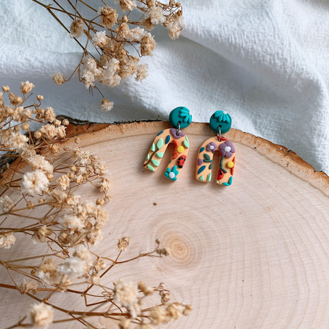 Handmade Polymer Clay Earrings - Grandma Garden 06
