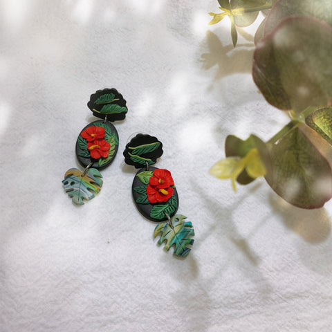 Handmade Polymer Clay Earrings - Bunga Raya 02