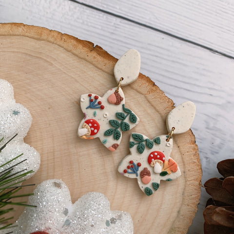 Handmade Polymer Clay Earrings - Mushroom & foliage flower dangle 01