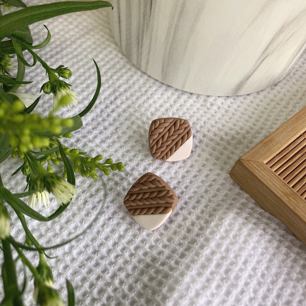 Handmade Polymer Clay Earrings - Weave Stud Square Earrings 01