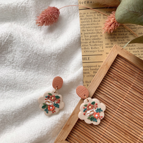 Handmade Polymer Clay Earrings - Fleur Collection Dangle 01