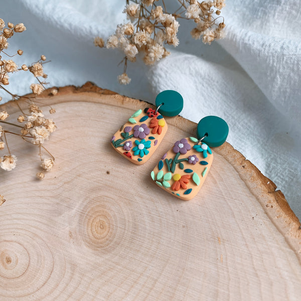 Handmade Polymer Clay Earrings - Grandma Garden 03