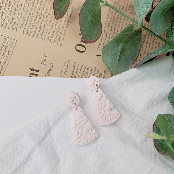 Handmade Polymer Clay Earrings - Minimal - Cloudy White