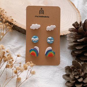 Handmade Polymer Clay Earrings - 3in1 Stud pack stainless steel value gift pack 04
