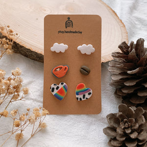 Handmade Polymer Clay Earrings - 3in1 Stud pack stainless steel value gift pack 03