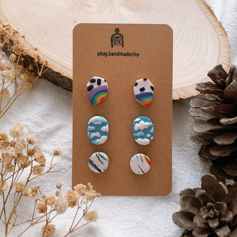 Handmade Polymer Clay Earrings - 3in1 Stud pack stainless steel value gift pack 10