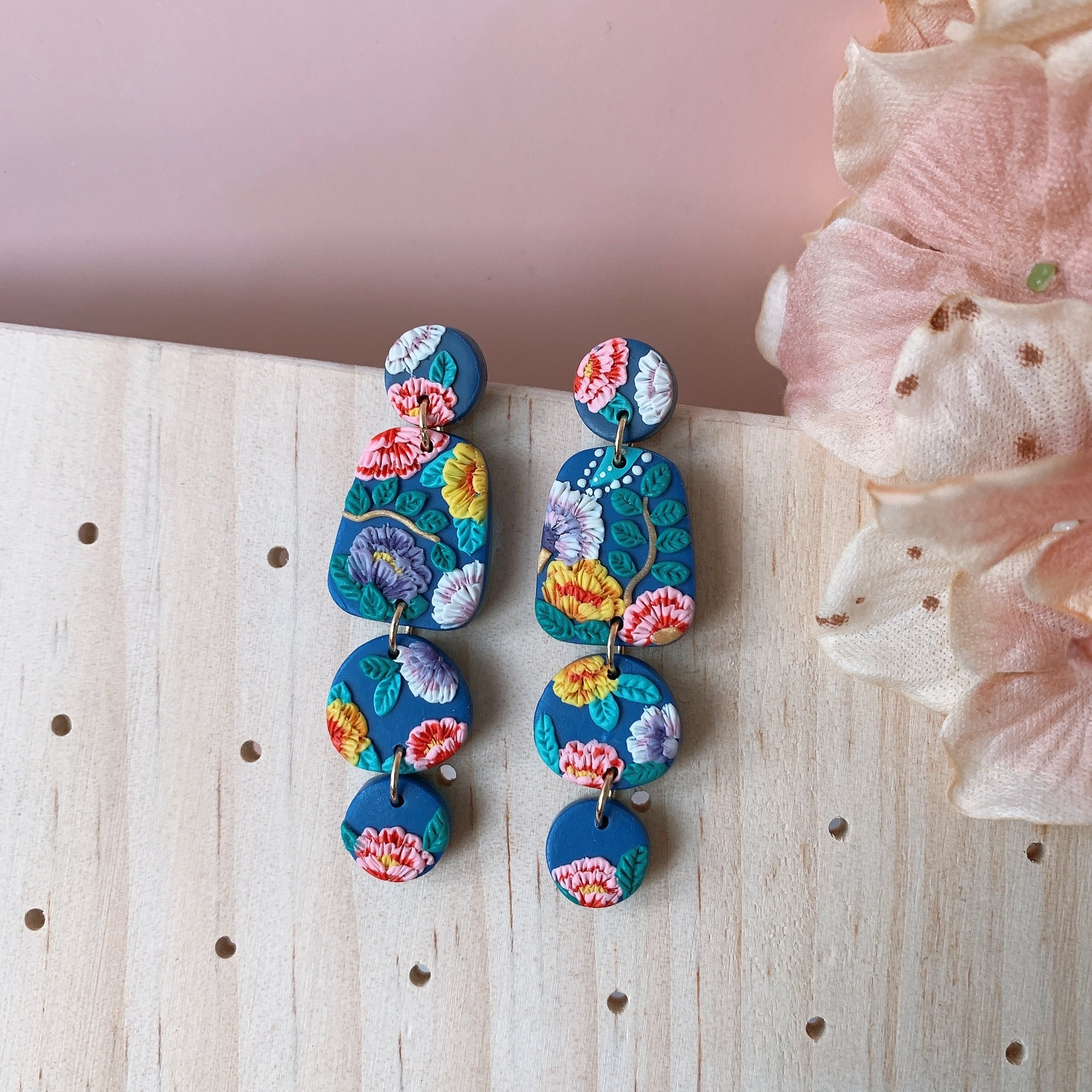 Handmade Polymer Clay Earrings - Oriental bloom classic navy dangle 04
