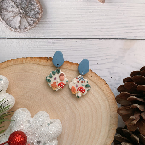 Handmade Polymer Clay Earrings - Mushroom & foliage daily dangle 09