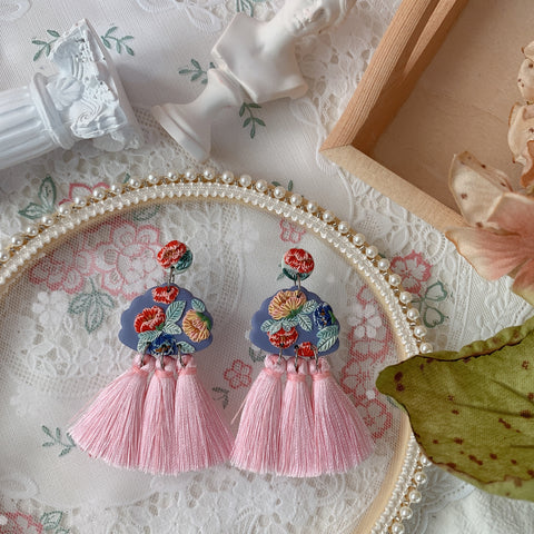 Handmade Polymer Clay Earrings - Lantern 08